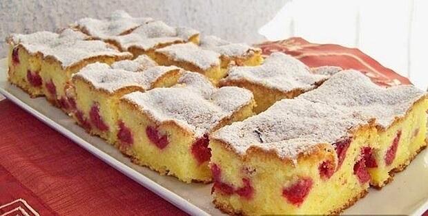 Jednoduchý třešňový koláč,k jeho přípravě nám postačí jen hrnek